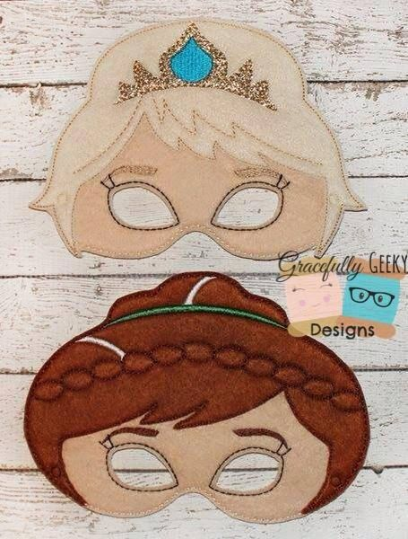 Queen Elsa and Princess Anna Felt Mask by KidsAtelier on Etsy, $12.00
