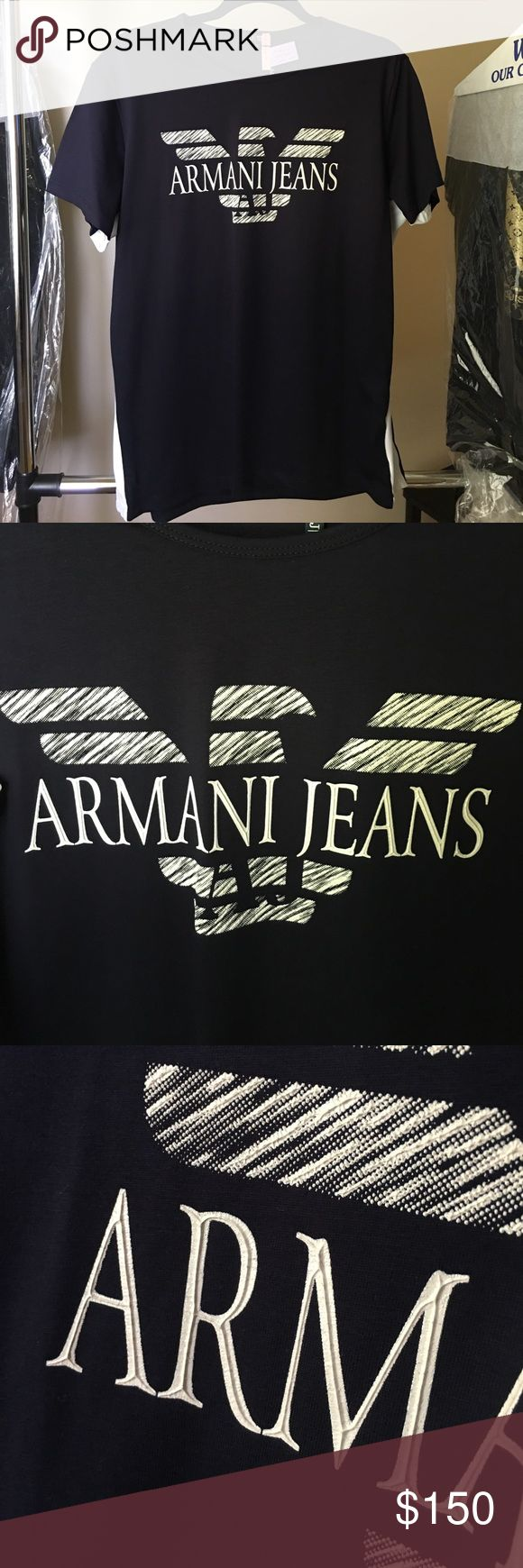 """Men's Armani Tee- XXL Men's Armani tee, color is navy blue. Note the white on either side of shirt...this shirt was tailored to fit, 2 1/2"""" were added on each side. As most brand clothing, they tend to run smaller in size so the xxl is more like a large off the rack. The 2 1/2"""" added to each side makes this a very comfortable XL, or more fitted XXL. All my ex-husbands clothing are brand, and he had all tailored to fit. I just picked up his clothes from the dry cleaners all will be for sale…"""