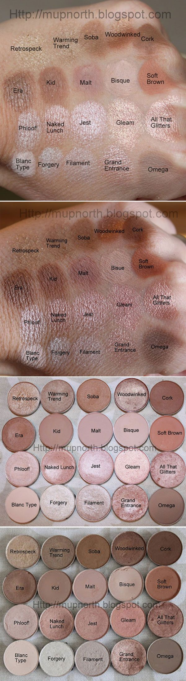 SWATCHES :: MAC Light Neutrals by #mupnorth :: Primed/ intensely pigmented (i.e. Soft Brown = lighter blended on) **FAVS: Row1: Retrospeck, Warming Trend, Soba, Cork  R2: Era, Kid, Malt  R3: Phloof!, Naked Lunch, Jest  R4: Blanc Type, Grand Entrance (HG!), Omega  **MUST HAVE: Cork, Kid/Malt, Soft Brown, Phloof!, Naked Lunch, All That Glitters, Blanc Type, Omega  **STAY AWAY: Retrospeck, Gleam, Forgery, Filament (lustre finish=very gritty/not pigmented/major fall out. Some = good i.e…