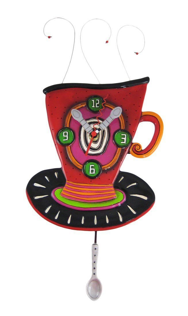 Amazon.com - Allen Designs WAKE UP CUP Pendulum Wall Clock Coffee