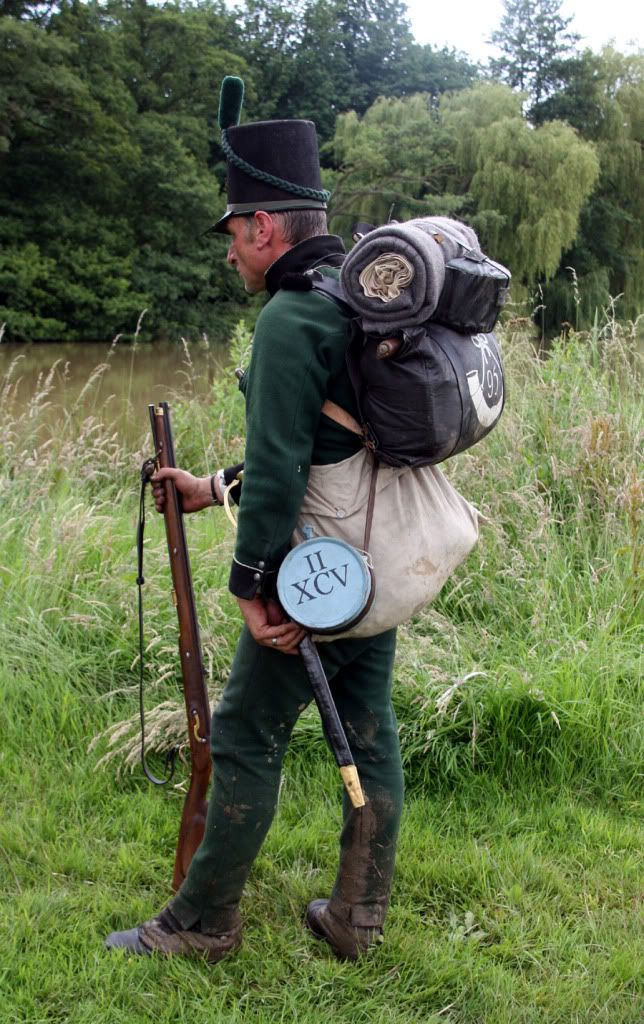 "95th Rifles.  Shows the size of the haversack, much larger than usually shown.  Surviving haversacks are 21"" by 12""."
