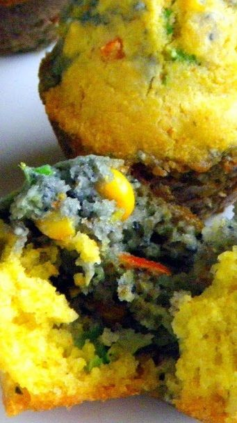 I LOVE these Blue and Yellow Corn Muffins from Bobby Flay's Mesa Grill... A great ying/yang presentation but also a wonderful corn muffin loaded with ... CORN and even more goodies... That Bobby Flay, he sure knows what he's doing