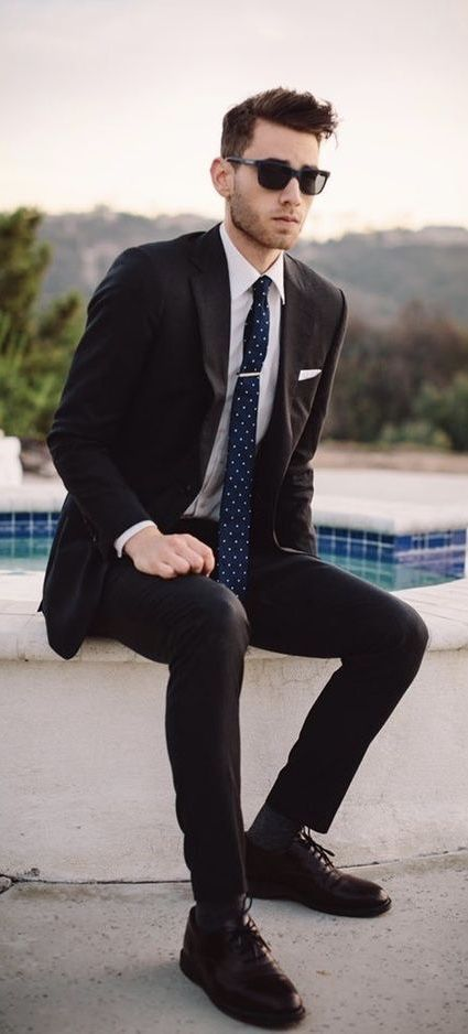 Black Suit Combo With A White Shirt Navy Polka Dot Tie Tie Clip