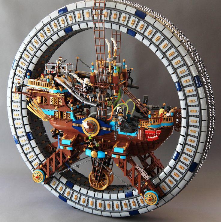 Huge LEGO steampunk wheel keeps the ship rollin'