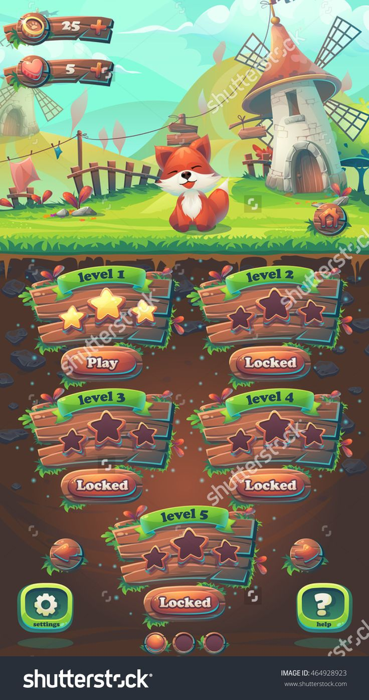 Feed The Fox Gui Match 3 Level Map Window - Cartoon Stylized Vector Illustration Mobile Format With Options Buttons, Game Items. -…
