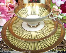 GERMANY TEA CUP AND SAUCER TRIO YELLOW & GOLD GILT PATTERN DECO GERMAN TEACUP