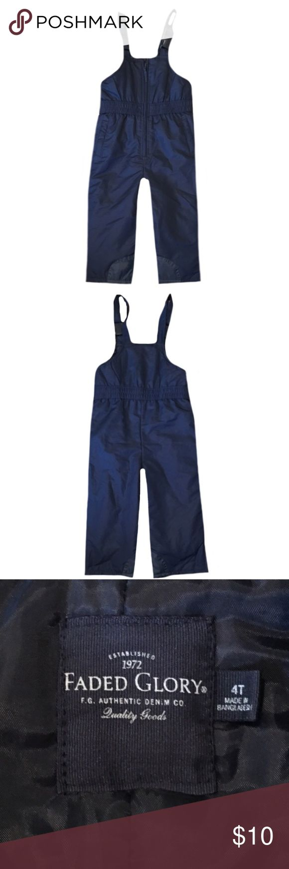 """Faded Glory Toddler Snow Bibs ▪️New without tags ▪️Faded Glory 4 toddler dark blue snow bibs, snow pants ▪️Adjustable straps ▪️Zips up front ▪️Zips at the bottom on the side of pants ▪️Made with 100% Polyester ▪️Length is 36"""" Faded Glory Jackets & Coats"""