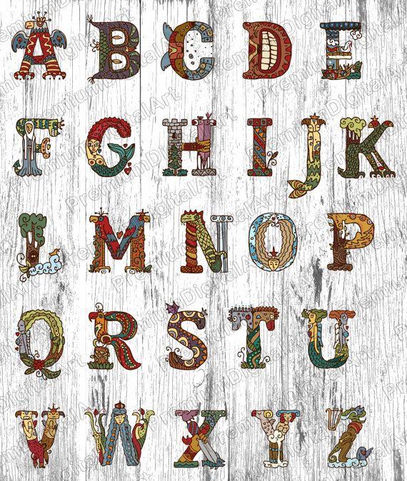 26 lettres médiévales de livres, lettres de conte de fées, police dessinée Pen, lettres colorées, Hand drawn Alphabet, polices numériques, PNG Alphabet, peint des polices