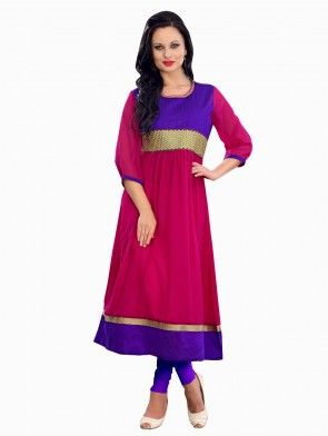 Pink Georgette Anarkali Kurti With Embroidery Work