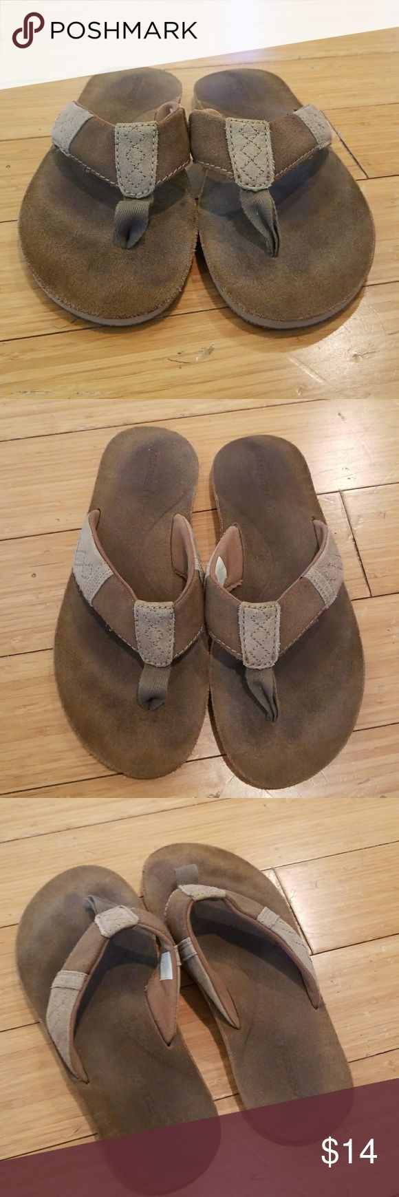 Merrell Men's leather Flip Flops Used. Merrell Shoes Sandals & Flip-Flops