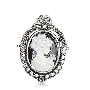 Retro collection. Delicate style cameo brooch in sterling silver and marcasite. Tax free $61.90