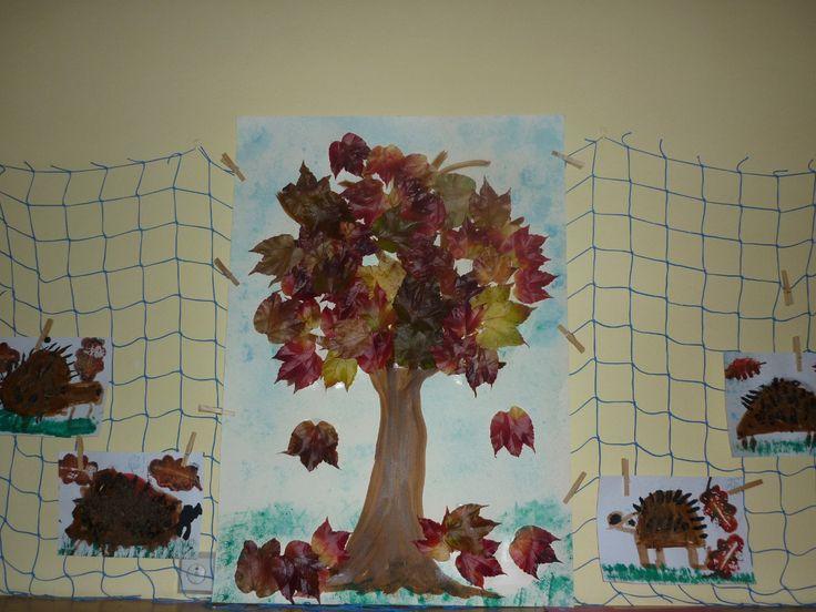 podzimní strom - lepení listí