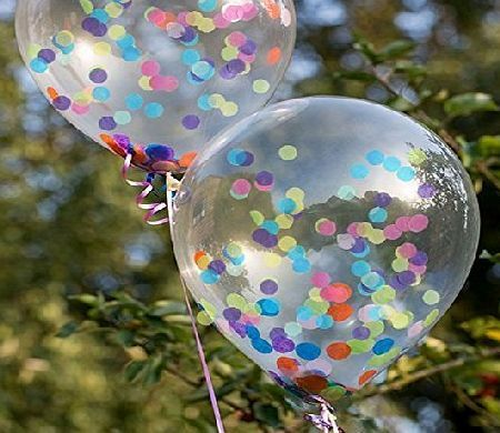 Utterly Splendid 10 Confetti Filled Balloons with Free Ribbon 10 x 11 inch Diamond Clear Latex Balloons. They are filled with multi coloured pretty confetti. These adorable balloons can be filled with air or helium if you want them (Barcode EAN = 5055397177847) http://www.comparestoreprices.co.uk/december-2016-week-1-b/utterly-splendid-10-confetti-filled-balloons-with-free-ribbon.asp