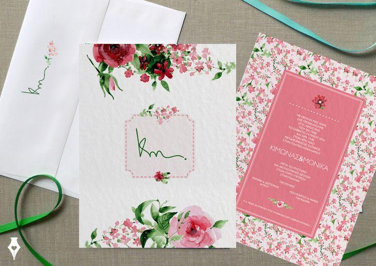 Chic garden προσκλητήριο γάμου για ρομαντικό ανοιξιάτικο γάμο. #προσκλητήριο #γάμου #ρομαντικό # λουλούδια #ροζ #ανοιξιάτικο #μονόγραμμα #wedding #invitation #romantic #chic #garden #pink #monogram #spring #floral