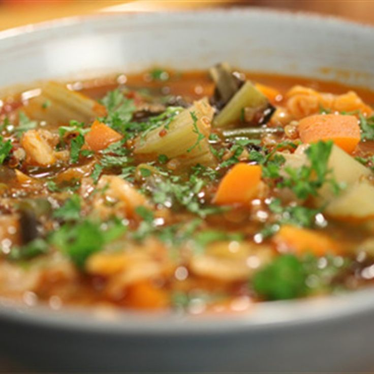 Try this Minestrone with Kale and Mixed Grains recipe by Chef Janella Purcell . This recipe is from the show Good Chef / Bad Chef.