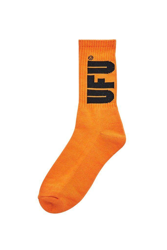 UFU BIG LOGO SOCKS ORANGE, Socks, USED FUTURE, SUPERCONSCIOUS BERLIN- SUPERCONSCIOUS BERLIN