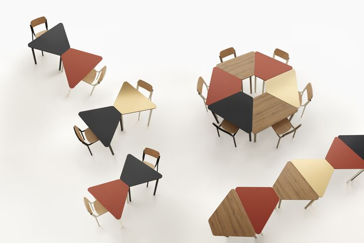 Easy modular tables in dark larch/lobster /night blue/ champagne tops and structure #modular #focusoncolor