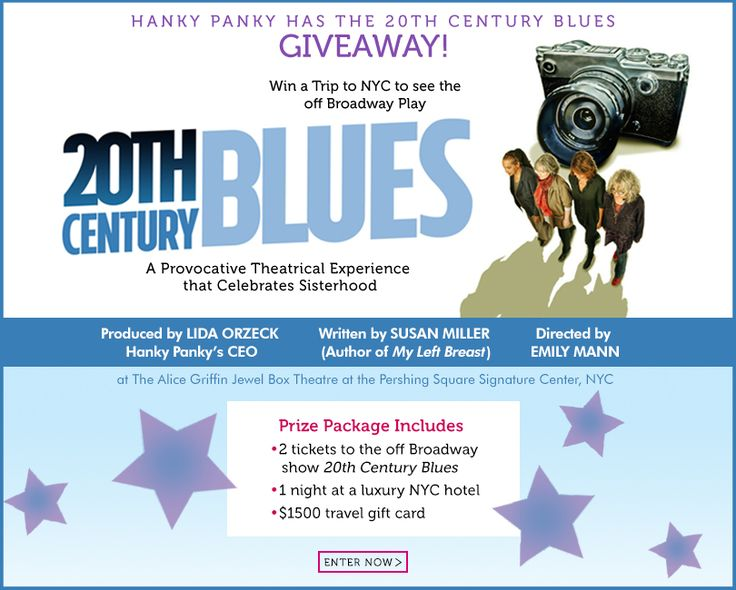 """Enter to win 2 tickets to the off Broadway show """"20th Century Blues"""", 1 night at a luxury NYC hotel, and a $1500 travel gift card."""