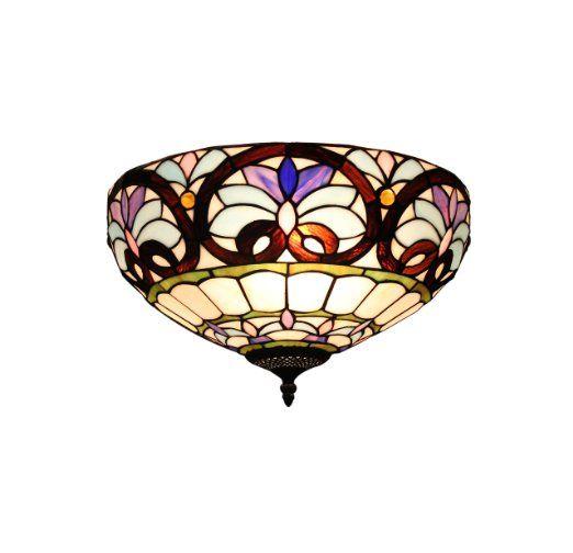 Gweat Retro 16-Inch Tiffany europäische Art Buntglas Lost In Lila Series Erröten-Einfassung Deckenleuchte