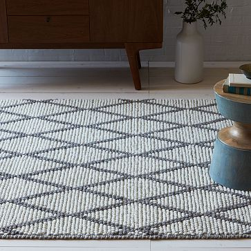 Knotted Diamonds Wool Rug - Feather Gray #westelm E, is this a yeah, yeah! or a f*ck yeah!