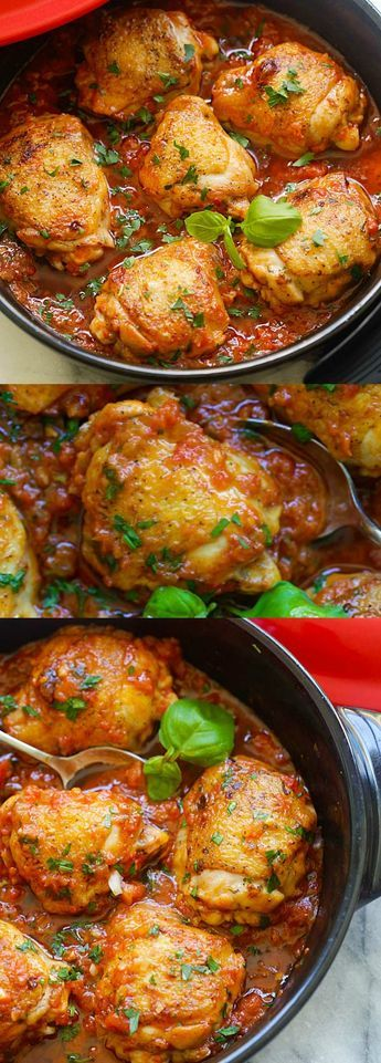 Delicious one-pot braised chicken recipe with tomato and basil sauce. Amazing weeknight meal for the family | rasamalaysia.com