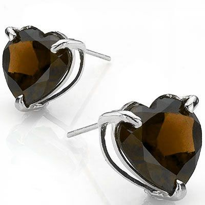 SOLD OUT #1318 Smokey Topaz Platinum Earrings