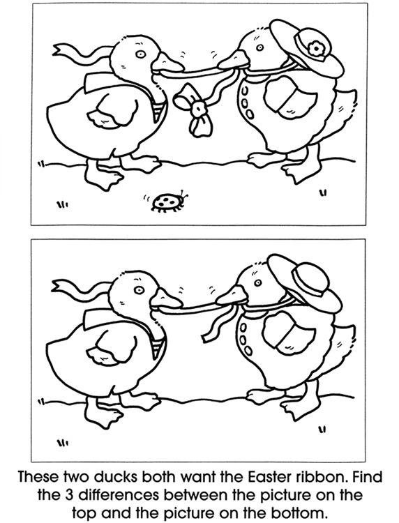 Dover Free Worksheets : Find the differences easter ducks sheet for young children