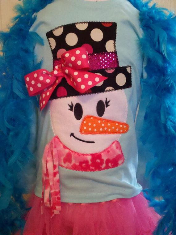 Funky Snowman Girl Machine Applique Design by TheAppliqueJunkie. I love the 3D components.  The bow and scarf!