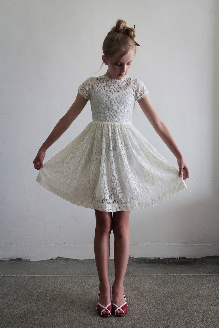 1950s Girls Dress . White Lace .  Flower Girl.