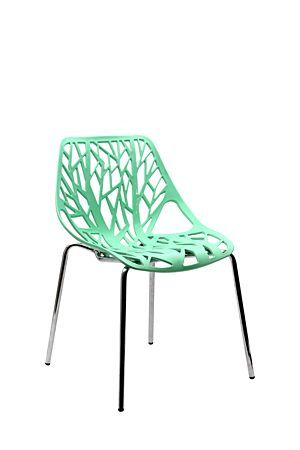 Our Moulded Plastic Tree chair has a moulded plastic seat with cut out detail, supported by metal legs. The stylish design will complement any dining or kitchen setting with a modern edge.