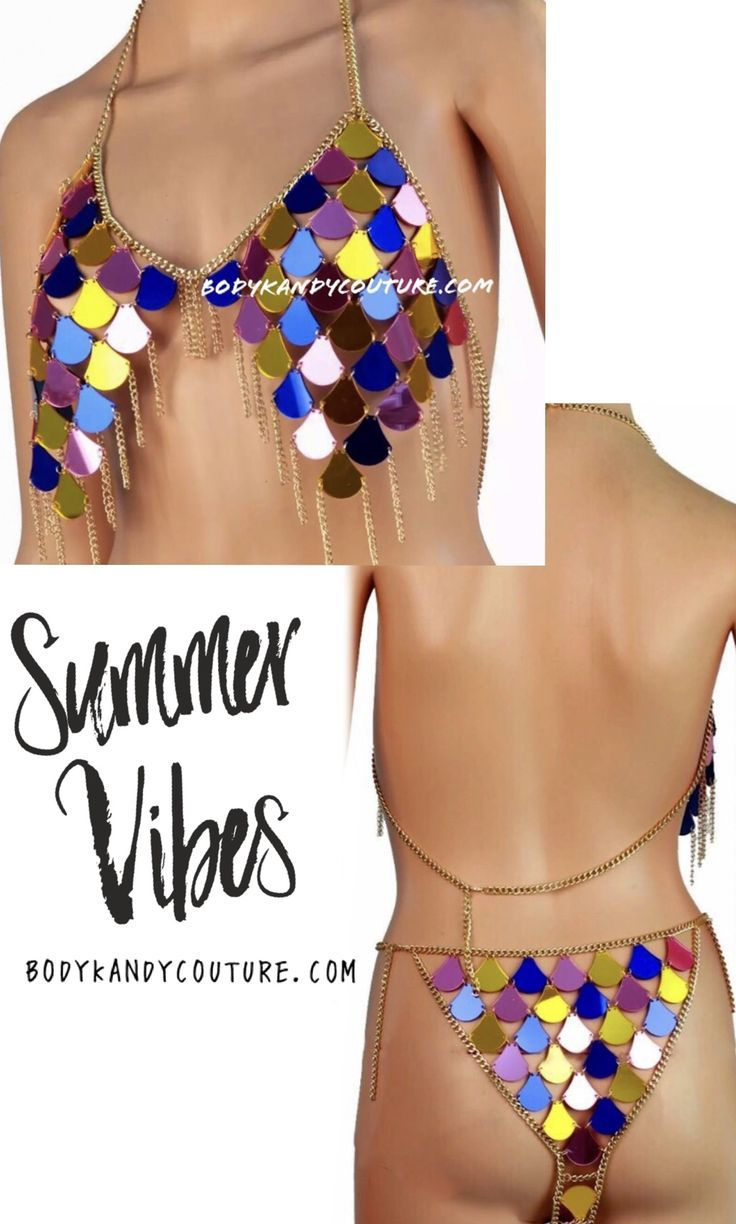 c7900774c3014 Steal the show wearing this gold festival bikini body chain. Sparkling  bikini top jeweled with