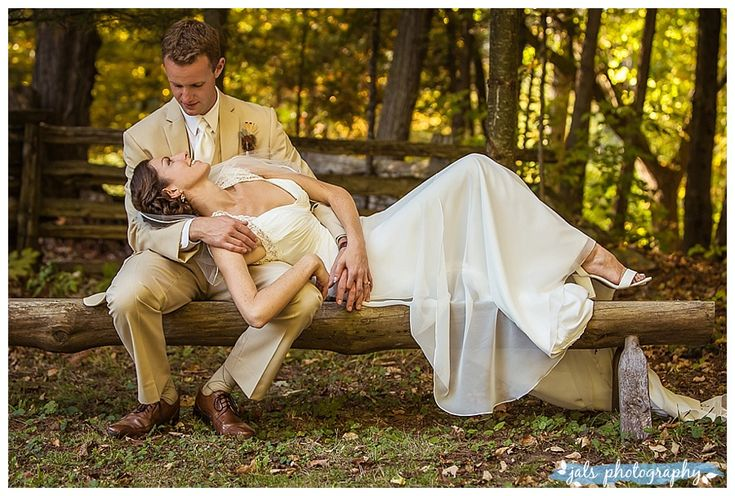 wedding photography, fall wedding, in the forest, bench, ivory dress, tan suit, O'Hara Mill, Madoc