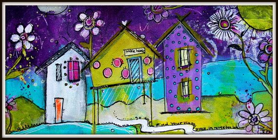 Funky little whimsical village painting lake house in for Funky house artists