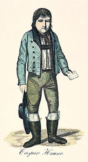 Kaspar Hauser, det mystiske hittebarn, der angiveligt havde levet hele sin barndom indespærret i mørke, efter en radering fra 1830.
