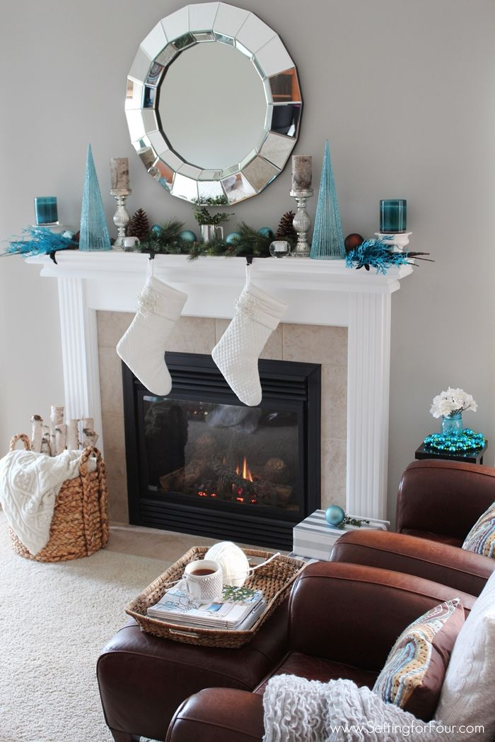 94 best christmas mantel inspiration images on pinterest for Christmas decoration 94