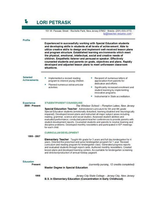 resume objective sample for teacher httptopresumeinfo2015 - Student Resume Objectives