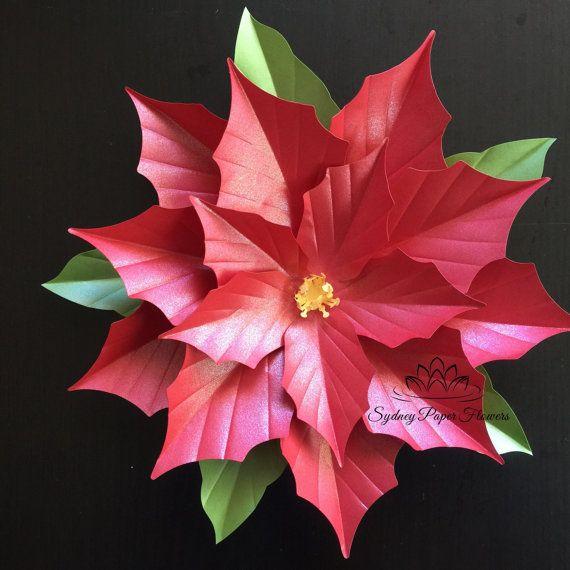 Decoración de Navidad flor de Pascua por SydneyPaperFlowers en Etsy