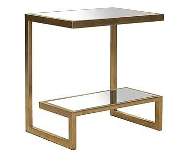 Tavolino in ferro e specchio Vivian oro, 50x54x34 cm