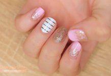 Decoración para uñas cortas: Diseño lindo y brillante!