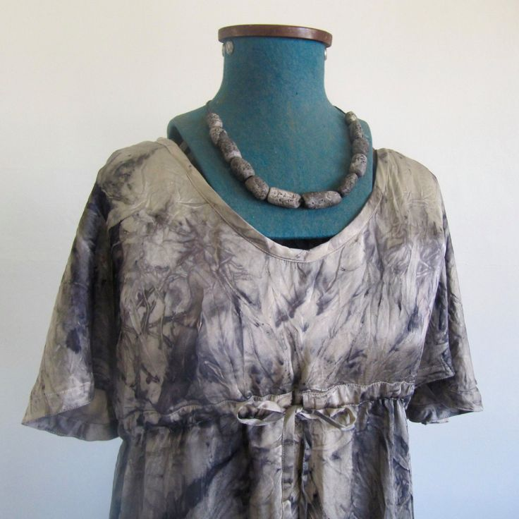 beautiful eco dyed silk dress 'mountain's grace' by colourclothclay on Etsy