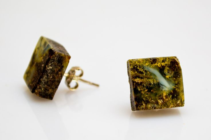 Handmade  Baltic Amber Blue Earrings. Natural Amber Jewelry. Women Earrings. Amber Gift. Unique! Square Shape.