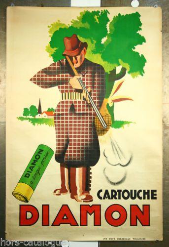 Affiche-originale-Diamon-cartouche-a-longue-portee-Chasse-fusil