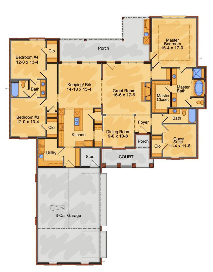 House Plans No Foyer : Ranch house plans with courtyard garage