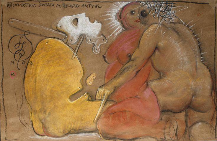 FRANCISZEK STAROWIEYSKI (1930 - 2009)  PASKUDZTWO ŚWIATA PO UPADKU ANTYKU, 2008   pastel, papier; / 73x110 cm