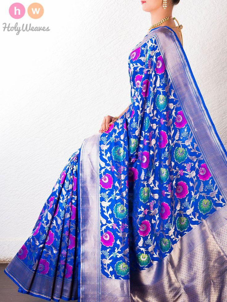 Blue Katan Silk Banarasi Cutwork Brocade Handwoven Saree - HolyWeaves - 1