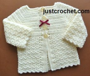 Free baby crochet pattern for matinee coat with link to matching hat http://www.justcrochet.com/sweet-coat-usa.html #justcrochet