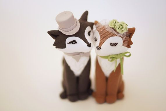 These are so precious! Elegant Wolf Wedding Cake Topper by TopThatCakeOff on Etsy