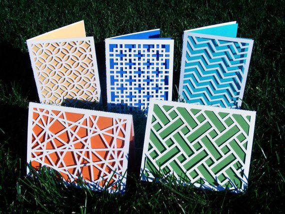 Modern Geometric Design   Laser-Cut Cards  (Set of Five Designs)   by AlexisMattoxDesign