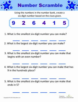 Follow the clues to create a six-digit number using the numbers in the number bank. Use a little bit of logic to unscramble the numbers.