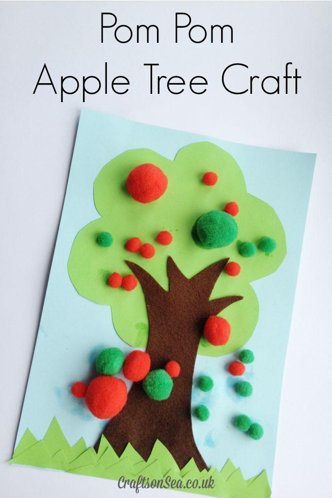 Pom Pom Apple Tree Craft - Crafts on Sea